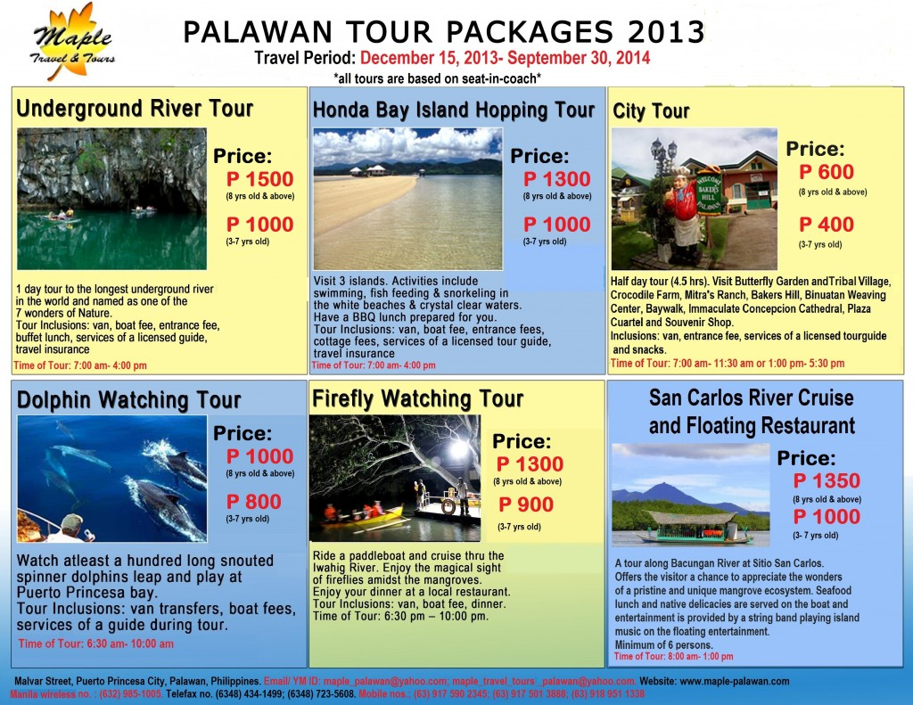 Puerto Princesa Tours_Published_ rates_2014_for Direct Guests